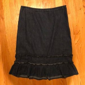 LOFT Size 10 Jean Skirt with Ruffle
